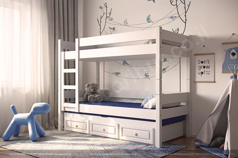 מיטת קומותיים מעץ מלא – לעצב את חדר הילדים במיטות מעץ מלא ואיכותי במחירים נוחים